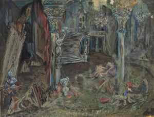 """Sketch for theatre settings for the play """"L'Escalier"""" gouaches and pencil on canson"""