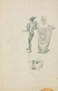 2 études pour costumes / 2 visages