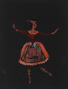 Folkloric costume I gouache on black canson