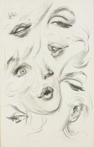 Marilyn Monroe sketches in charcoal, Los Angeles, 1960