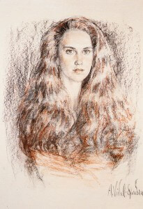 Monica Vidal-Quadras charcoal and pastel, 1983