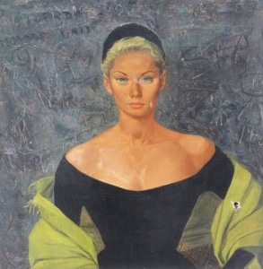 Tilda Tamar, movie star, (Detail) oil, Paris, 1950
