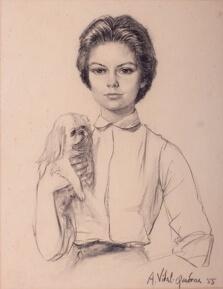 Anna Luisa de Castro Capanema charcoal, Rio de Janeiro, 1955