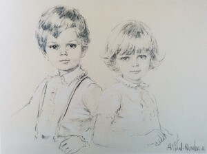 Prince Serge and princess Hélène of Yugoslavia, charcoal , 1966