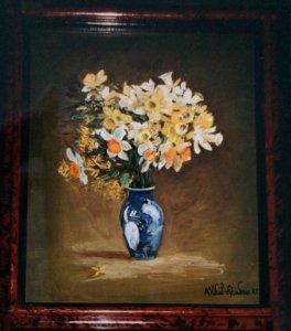 Bouquet jaune & vase bleu