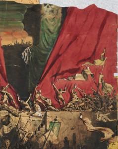 Scène de révolution - rideau rouge