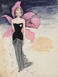 """""""La Femme Orchidée"""" starring Tilda Thamar gouache on canson"""