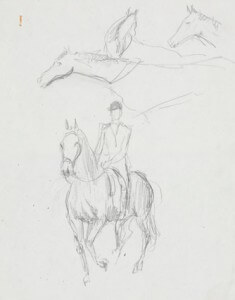 Running horses pencil sketch