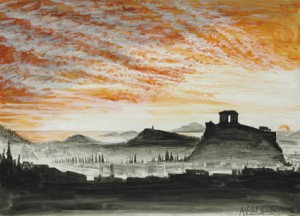 """Athens sun setting"" mixed technique, 1975"