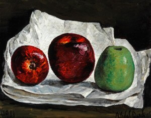 Trois pommes sur nappe