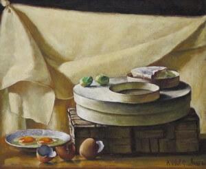 """""""Œufs sur assiette et camember"""" oil, 1980"""