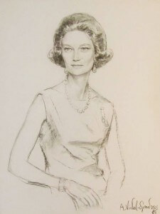 Grand Duchess of Luxembourg, Princess Josefina-Carlota of Belgium, Fusain sur papier, 104 x 82, 1968