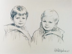 Princes Michel and Dimitri of Yugoslavia, charcoal , 1961