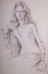 Mrs. Carmita Moraes Rego, charcoal, 1977